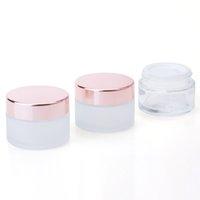 Cuidado de la piel Frascos de vidrio transparente helado Cosmético Casos de crema de cara con tapa de oro rosa 5G 10G 15G 30G 50G 100G