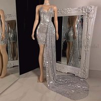 Designer Silver Sexy Prom Dress Mermaid Short Cocktail African Black Girls Evening Wear For Party Night