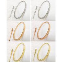 Wholesale brazalete de acero inoxidable Pulseras de amor de plata de oro rosa de oro para mujeres hombres destornillador pulsera pareja joyería mujer con bolso original 16-22cm