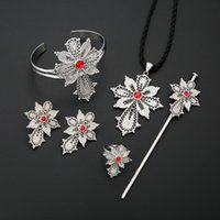 Earrings & Necklace Ethiopian Trendy Pendant Bangle Earring Ring Hairpin White Habesha Jewelry Sets