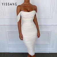 Повседневные платья Yissang Draped Off Ofter Двойной слой сетки белое сексуальное платье женщины плиссированные длинные вечеринки элегантный ночной клуб Bodycon
