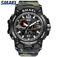 SMAEL Marka Saatler Erkekler Için Serin Şok Suya Dayanıklı Çalar Saat Reloj Hombre 1545D Kamuflaj Askeri Spor Saatler Erkekler 210407
