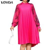 Casual Dresses Elegante Frauen Langarm Kleid 2021 Vonda Vintage Printed Party Midi Femme Patchwork Vestidos Übergroße Robe