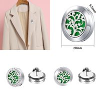 Shining Perfume Diffuser Buckles Brooch Pins with Crystal 20mm Fashion Cufflink Locket of Essential Oil Stainless Steel