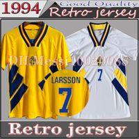 1994 Larsson Ingesson Mens Ретро Футбол Футбол для футболки Швеция Dahlin Brolin Футбольные футболки Главная Желтый прочь Белая Униформа Взрослая