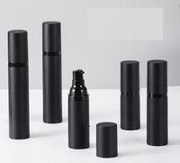 Bouteille de pompe de pulvérisation vide Noir dépoli en bouteilles de lotion sans air plastique 15ml 30 ml 50 ml sous-bouteille cosmétique HHF6133