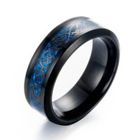 Wedding Rings 8mm Black Hollow Blue Dragon 316L Stainless Steel Party For Men Women Gold Color Ring Wholesale
