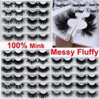 Luxury Fluffy Messy Real Mink Eyelash Bomb Soft False Eyelashes 25mm 3D 5D Dramatic Lashes Natural Volume Thick Crossed Long Lash 32 Styles Makeup Tools