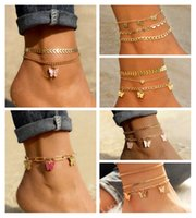 Bohemian Gold Butterfly Chain Anklets Set For Women Girls Fashion Multi-layer Anklet Foot Ankle Bracelet Beach Jewelry