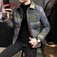 Mens Jackets Zongke Woolen xadrez Bomber Jaqueta Japonês Streetwear Homens Casaco de Inverno M-3XL