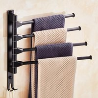 Space Aluminum Bathroom Towel Holder 4 Swivel Rail Hanger Badkamer Wall Shelf Rotate Hat Rack Handdoek Houder Bath Storage Racks