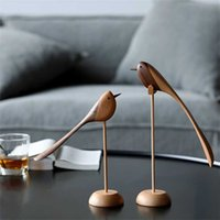 Danish wood ornaments jewelry carving en play Home Furnishing Nordic style puppet features bird 211025