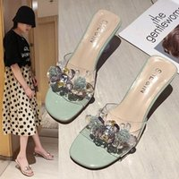 Slippers BONJEAN 2021 Summer Sandals For Women Fashion Crystal Decoration Slides PU Leather Strange Style Heel Shoes BJ2941