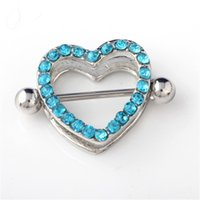 Best selling 3 color double peach heart breast ring love diamond body nail piercing jewelry 1118 T2