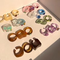 Colourful Transparent Resin Acrylic Band Rings New Vintage Rhinestone Geometric Square Index Finger Ring for Women Jewelry Mixed Bulk