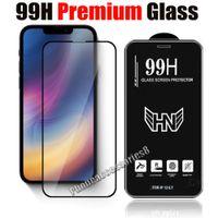 Protecteur d'écran de téléphone de verre trempé de qualité 99H de qualité supérieure pour iPhone 13 12 Mini Pro Max 11 XR XS 8 7 6 Plus Samsung A12 A22 A32 A42 A52 A52S 5G Film de couverture complète