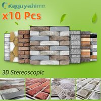 Wallpapers =(K)= 10Pcs 3D Self-Adhesive Wallpaper DIY Brick Stone Pattern Home Decoration Kitchen Living Room Waterproof Tile Wall Stickers
