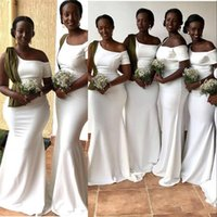 2021 New South African Mermaid White Bridesmaid Dresses Elegant One Shoulder Short Sleeve Long Maid of Honor Gowns Wedding Guest Dresses