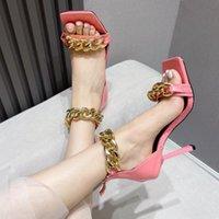 العلامة التجارية امرأة شبشب أعلى جودة مصمم سيدة الصيف الأزياء بو الشريحة عالية الكعب الصنادل الفاخرة عارضة الأحذية النسائية جلدية