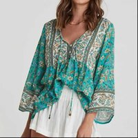 BOHO INSPIRED green Women Shirts floral summer top tassel tie blouse buttons cotton tops bohemian gypsy laidies
