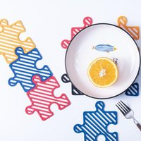 Puzzle Placemat Hollow Jigsaw Mat Coaster Heat-Resistant Soft Non-Slip Coasters Kitchen Tableware Tool LD61201
