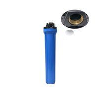 UPVC Plastik 20 Inç Ince Mavi Su Filtresi Parçaları 20 '' Ticari Kullanım için Arıtma Şişesi RO Filtrasyon Ters Ozmoz Pirinç Giriş ve Çıkış Bağlantı Noktası Kartuş Konut