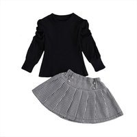 1 7y Infant Kids Baby Girls 2pcs Clothes Set Puff Sleeve Ribbed Tops Shirt Plaid Skirts Spring Autumn Outfits