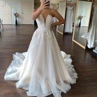 Strapless A Line Lace Wedding Dresses Bridal Gowns Sweep Train Appliqued Tulle Plus Size Bride Dress Vestido De Novia