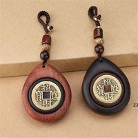 Accueil Decor Main Handmade Lucky Feng Shui suspendu vintage laiton argent pendentif Chine pièces anciennes voiture porte-clés HWWE9847