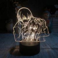 야간 조명 사용자 지정 자식 3D 램프 토라 도라 타이거 X 드래곤 LED 조명 알람 시계 기반 Delineascope Manga 일본 애니메이션