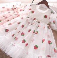 Mädchen Pailletten Erdbeergaze Kleider Sommer Kinder Spitze Shorts Sleeve Tüll Kleid Kinder Prinzessin Kleidung A6495