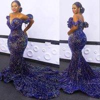 2021 Sexy Africano Lantejoulante Bling Vestidos de Noite desgaste Royal Azul Plus Size Lantejoulas Off Shoulder Mermaid Vestidos de baile de formatura Vermelho Tapete Robe de Soiree