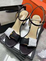 2021デザイナーズサンダル女性靴GGファッションハイチャンキーヒールブラックソフトレザースエードサンダルガールズビッグサイズ42 10 US
