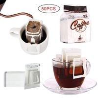 25-50 unids / pack Bolsos de sobres de café desechables portátiles Colgante Ear estilo de café Filtros de café ecológicos Bolsa de papel para el café expreso