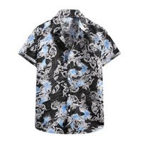Men's Casual Shirts Men Clothing Fashion Holiday Beach Summer Tops Button Up Shirt Turn-down Collar Short Sleeve Gothic For