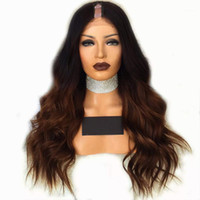 Brown Ombre U Part Wig Body Wave Brazilian Remy Human Hair Two Tone Color 1b#T4# Wigs 180% Density1