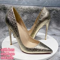 with box Luxury Brand Designer Shoes For Women Red bottoms High Heels plus size euro34 to 45 Pointed Toes party Stiletto Heel Pumps Wedding Bridesmaid Champagne Gold