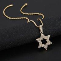 Pendant Necklaces Hip Hop Rhinestone Hexagram Star Necklace Gold Color Twist Chain For Women Men Gothic Jewlery Accessories