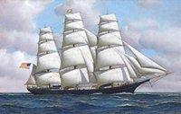 American Clipper корабль летающих облачных масляных маслом живописи на холсте ДОМАШНЕЕ DECAL GELAFCAFTS / HD PRINT WETLE ART PIETTION Настройка допустима 21051217