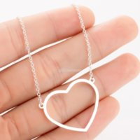 Line Love Heart Pendant Necklace Women Stainless Steel Necklaces Chain Mother's Day Birthday Gift Fashion Jewelry Will and Sandy Silver Gold