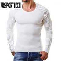 Ursporttech Sonbahar Kış Kazak Erkekler Yeni Rahat Kazak Erkekler Nervürlü Şerit Uzun Kollu O-Boyun Örme Katı Sweater1