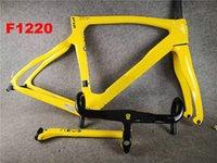 F12 الإطار 100 ألوان تصميم 1K لامعة الكربون الطريق الدراجة إطارات + المقود دراجة الكربون إطار الأصفر A01