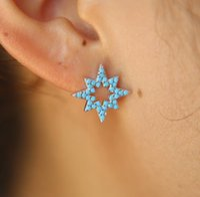 Arrivo regalo di Natale gioielli oceano blu turchese pietra Pave Star Outline Fashion Ladies Gold Color Earring Stud