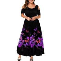 Casual Dresses Evening Party Purple Butterflies Print Off Shouder Summer Dress Women Wedding Short Sleeve Large Hem Formal