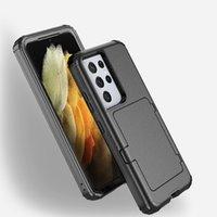 3 en 1 Armure antichorcométrique Flip Coffre-Téléphone 360 degrés Couvertures de protection du corps à 360 degrés avec corners renforcés miroir Card Card Slot Kickstand pour iPhone Samsung LG