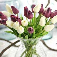 Tulipani bianchi Fiori artificiali PU Real Touch Bouquet Fiore falso per la decorazione di nozze Home Garen Decor AHD6111