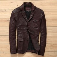 Men's Leather & Faux Smart Classic Causal Genuine Suits Men Korean Fashion Advanced Sense Goat Jacket For Slim Fit Blazers Male