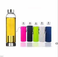 22oz Glass Water Bottle BPA Free High Temperature Resistant Glass Sport Water Bottle With Tea Filter Infuser Bottle Nylon Sleeve DHD10478
