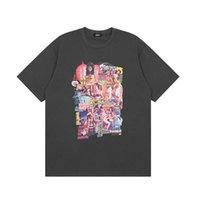 T gömlek eski şekil Yuvarlak boyun gevşek rahat çift kısa kollu t-shirt yapmak
