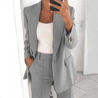 Women's Suits & Blazers Casual Blazer Coat Notched Collar Button Suit Jacket Pocket Solid Color Long Sleeve Office Lady Outerwear Tops